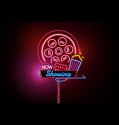 now open glowing neon and bulb sign cinema movie vector image