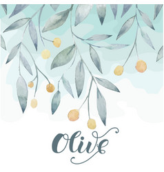 olive hand drawn background vector image vector image