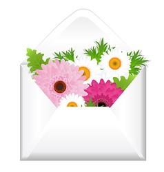 Open envelope with flowers vector