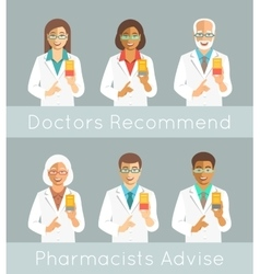 Pharmacists holding a box with medicine vector image
