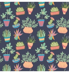 Potted plants seamless pattern vector