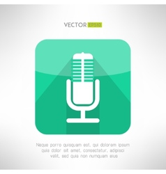 Radio station microphone icon in modern flat vector image
