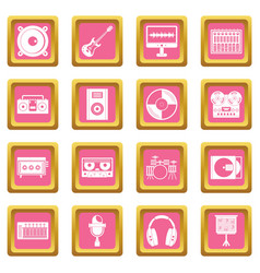 Recording studio items icons pink vector