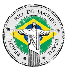 Rio theme stamp with statue of the Christ the Rede vector image vector image