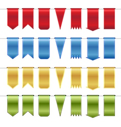 Set of red blue gold and green glossy ribbons vector image vector image