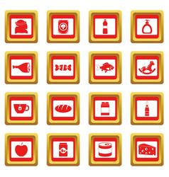 shop navigation foods icons set red vector image