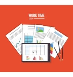 tablet office work time supply icon vector image