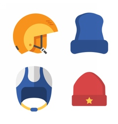Winter sports head wear set vector