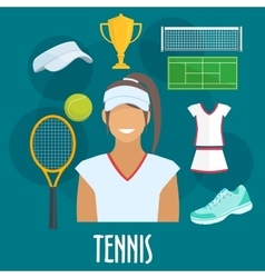 Tennis sport equipment and outfit elements vector