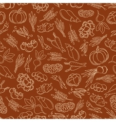 Harvest festival seamless pattern with vegetables vector