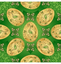 Easter seamless green pattern with golden eggs vector image