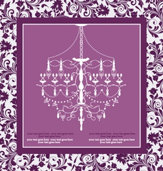 Purple vintage invitation wedding card vector