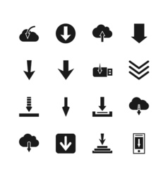 Download file icons down digital arrow buttons vector
