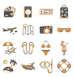 Vacation and tourism icons set vector