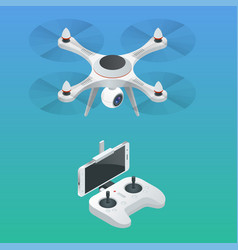 Isometric radio-controlled drone innovation video vector