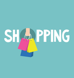 Shopping sign hand holding shopping bags flat vector