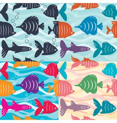 Seamless background aquarium fish vector image