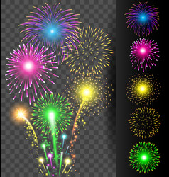 Colorful firework set on translucent background vector