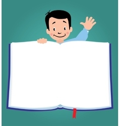 Design template with funny boy and book vector