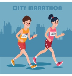 City marathon runners man and woman vector