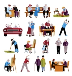 Elderly people icons set vector