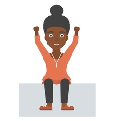 Woman sitting with raised hands up vector