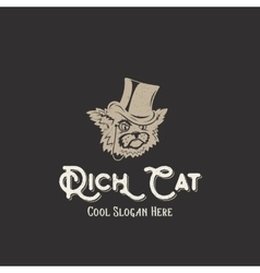 Rich cat abstract vintage sign symbol vector