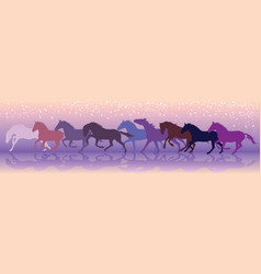 Background with horses run at a gallop vector