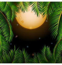 Big tropical moon and palm trees background vector image vector image