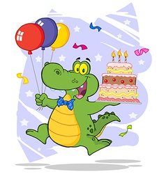 Birthday Alligator With Balloons And Cake vector image vector image