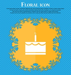 Birthday cake icon sign Floral flat design on a vector image vector image