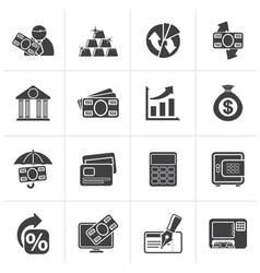 Black Bank business and finance icons vector image