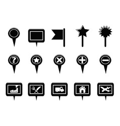 Black GPS and Map Navigation Markers vector image vector image