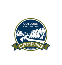 camping sport exploration mountain icon vector image