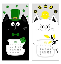 Cat calendar 2017 Cute funny cartoon character set vector image vector image