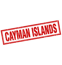 Cayman islands red square grunge stamp on white vector