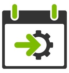 Cog Integration Calendar Day Flat Icon vector image vector image