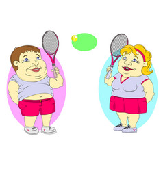 fat people playing tennis vector image
