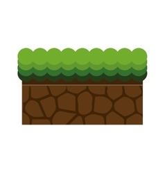 Ground mud block with grass vector