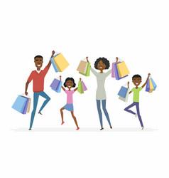 Happy african family enjoys shopping - cartoon vector