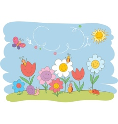 Hello Spring cute greeting card vector image vector image
