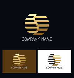 line gold round letter s logo vector image vector image