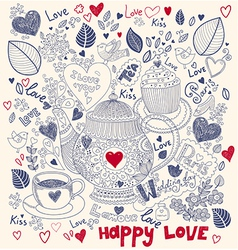 Love pattern with teapot vector image vector image