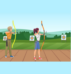 Man and woman standing with bows and aiming to the vector
