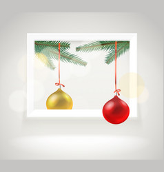 Photorealistic bright gallery frame christmas vector