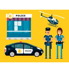 Police characters car helicopter vector