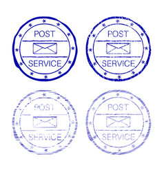 Post service blue faded round stamp vector
