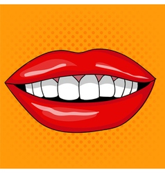 Pretty female smiling lips in retro pop art style vector