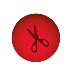 Red circular frame with scissors tool vector