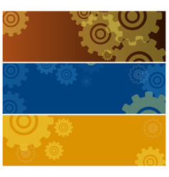 set of colorful posters with gear icons isolated vector image vector image